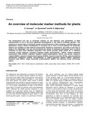 Molecular Markers for Plants