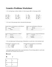 Simple Genetics Practice Problems Answer Key