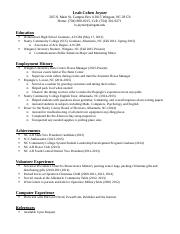 Eng255 Job Project Resume