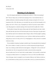 Meaning of Life Speech.docx