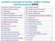 LECT 5. CONCEPTS of AD-HOC, ZigBe, Celle