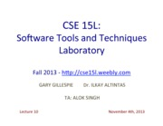 CSE15LLecture104thNov2013