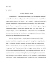 ENG 104 Paper #2 A History Lesson