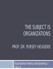 Lecture 2 Heugens - The subject is organizations