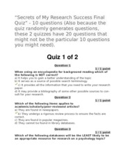 Secrets of My Research Success Final Quiz (20 questions)