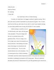 Global Warming Position Paper