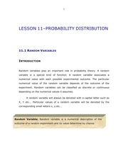 LESSON 11- PROBABILITY DISTRIBUTION