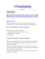 Sport Psychology - PSY407 Fall 2007 Assignment 01 Solution
