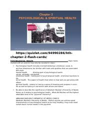 Chp 2 Worksheet - Psychological & Spiritual Health - Fall 16