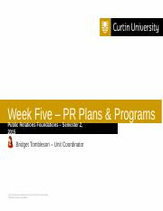 PR Foundations - Wk 5 Lecture - PR Plans and Programs