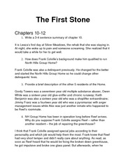 The First Stone Chapter 10-16 Homework Questions