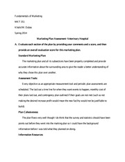 Marketing Plan Assessment- Veterinary Hospital