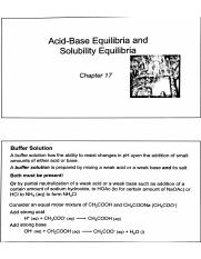 Chapter 17 Notes - Acid-Base Equilibria and Soluability Equilibria