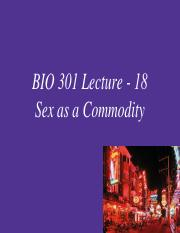 BIO 301 Lecture 18 - Sex as a commodity