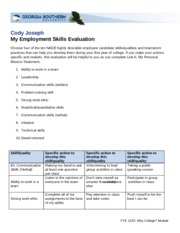 My Employment Skills Evaluation 2