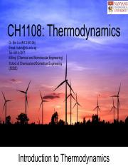 CH1108 Chapter 1_Introduction to Thermodynamics