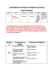 2014 Summer Pre-Calculus Exam 1 Practice Problems