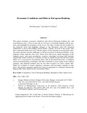 Economic Conditions and Risk Taking in European Banking Final.pdf