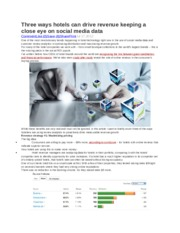 Three ways hotels can drive revenue keeping a close eye on social media data