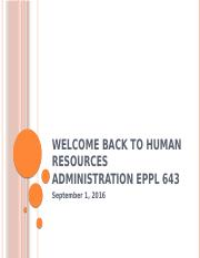BB Copy of September 1 Week 2 Welcome to Human Resources Administration EPPL 643(2).pptx
