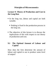 Lecture 9: Theory of Production and Cost in the Long Run Econ 1150