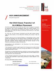 HCH26Hot-Chili-Closes-Tranche-2-of-A4.4-Million-Placement26082016