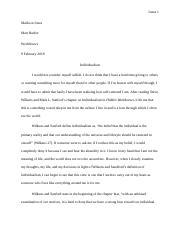 Hidden Worldviews Reflection Paper #1, Individualism.docx