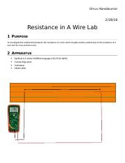 Factors Affecting Electrical Resistance LAb