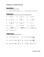 Worksheet 7 4 Inverse Functions