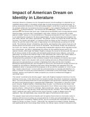 Impact of American Dream on Identity in Literature Essay.docx