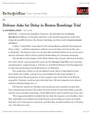 Defense Asks for Delay in Boston Bombings Trial - NYTimes.com