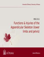 9 Functions & Injuries of the Appendicular Skeleton (lower limbs and pelvis) NEW