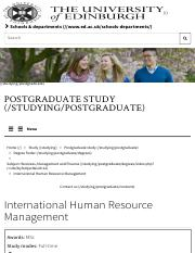 International Human Resource Management | The University of Edinburgh