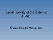 Audit I Legal Liability of the Auditor
