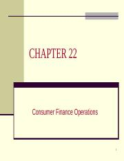 4341 ch22 - Consumer Finance Operations