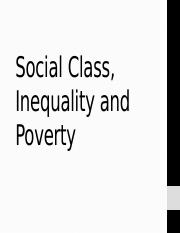 Social Class, Poverty and Inequality