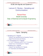 Lecture 21- Review- Sampling and Communications