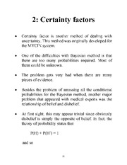 Certainty Factor notes