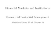 Lecture 18 - Risk management of commercial banks