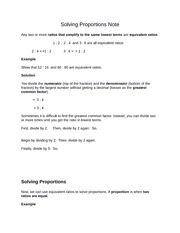Solving Proportions Note