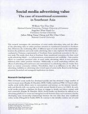 Social media advertising value the case of transitional economies in southest asia