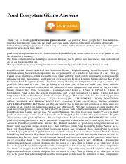 Pond Ecosystem Gizmo Answers.pdf - Pond Ecosystem Gizmo ...
