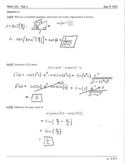 Math 122 Test #1 Solutions