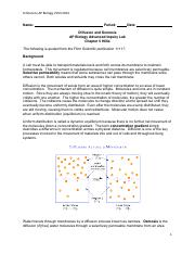Lab, Chapter 5, Diffusion and Osmosis 2013 2014