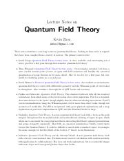 qft (1) pdf - Lecture Notes on Quantum Field Theory Kevin