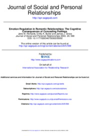 Emotion regulation in romantic relationships