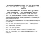 Unintentional injuries and Occupational Health web