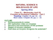 MOL CLASS 21 - Enzymes as Biological Catalysts (Part 2) (class notes S11)