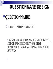 5. Questionnaire Design Updated February 10, 2015.ppt
