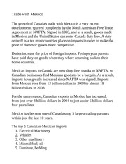 Canadian:Mexico Trade Notes